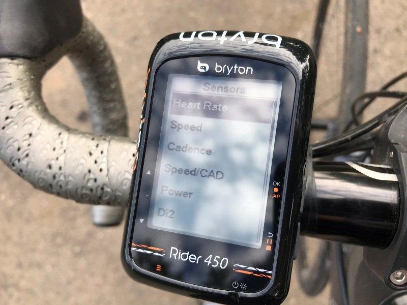 Bryton Rider 450 data sensors