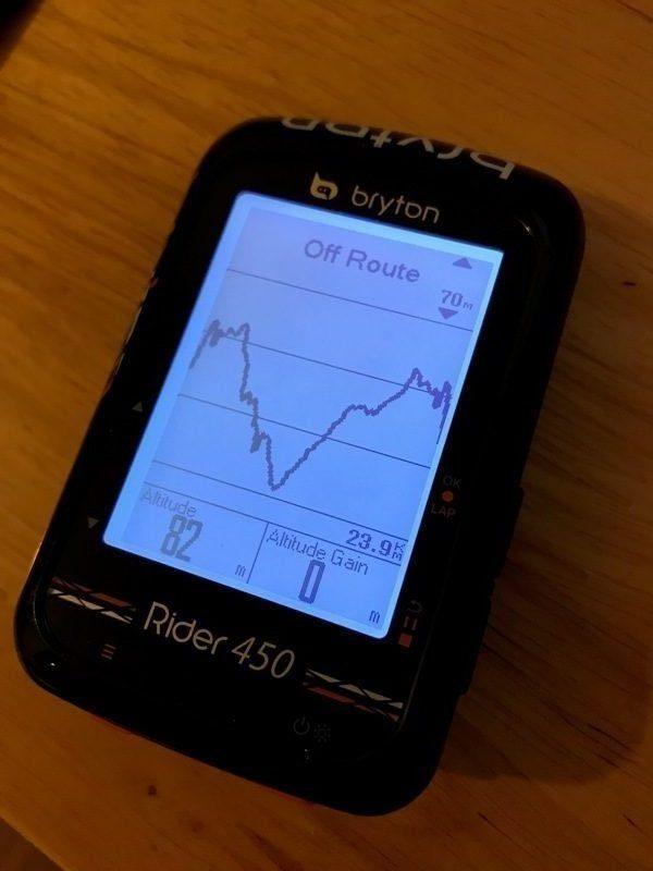 Bryton Rider 450 elevation chart