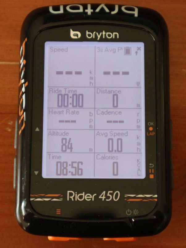 Bryton Rider 450 screen close up