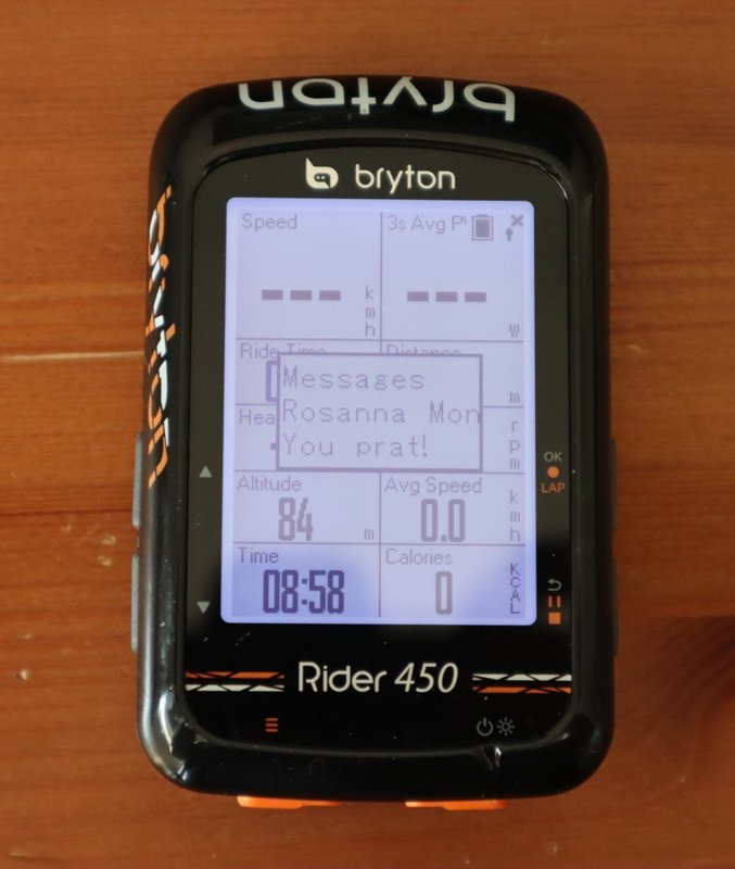 Bryton Rider text notification