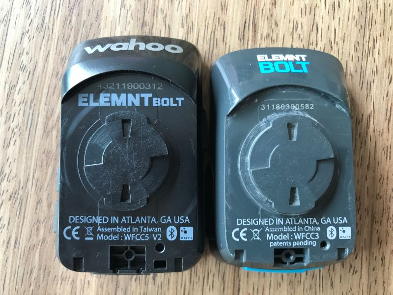 ELEMNT BOLT V2 vs V1 back view