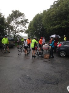 Raining at the feed stop