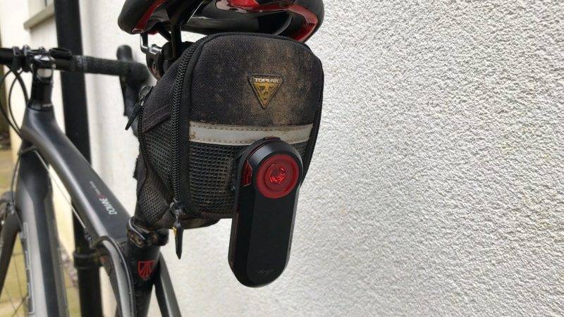Garmin Varia attached to saddlebag