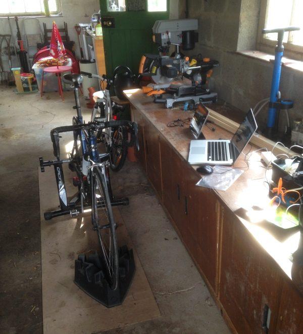 Indoor trainer and trainerroad in my garage