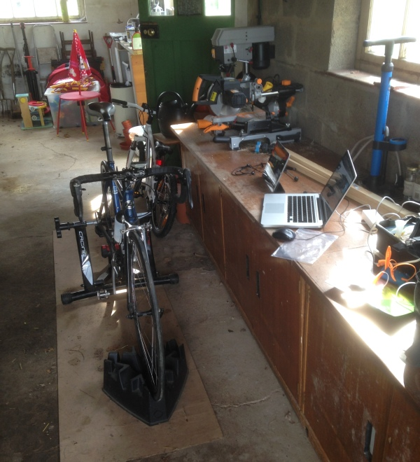 Indoor trainer and trainerroad in my garage