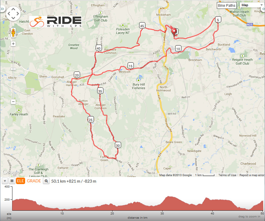 Leith Hill Box Hill loop route
