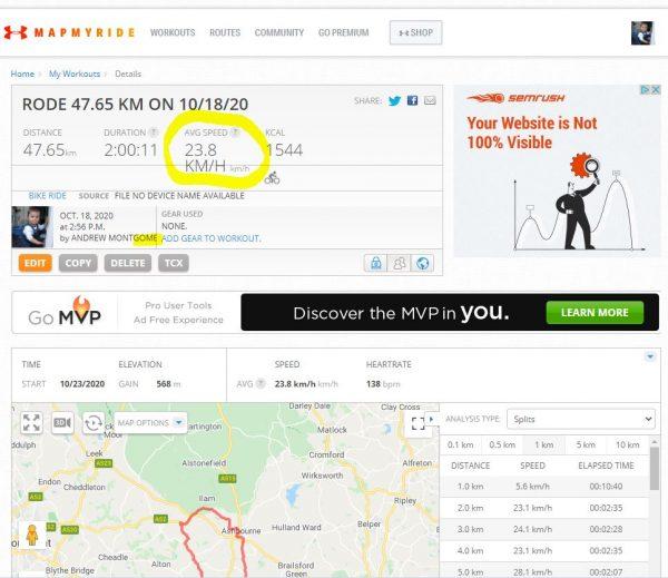 MapMyRide website activity screen