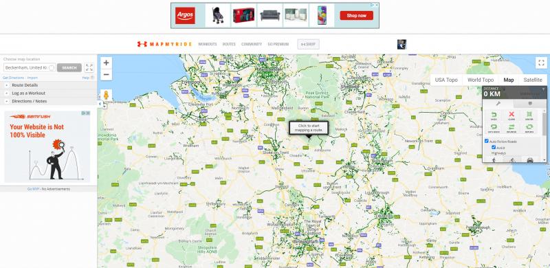MapMyRide website route planner