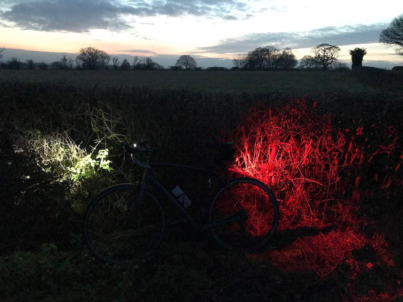 Road bike with front and rear lights