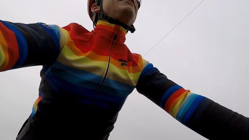 Stolen Goat Climb & Conquer jacket on bike