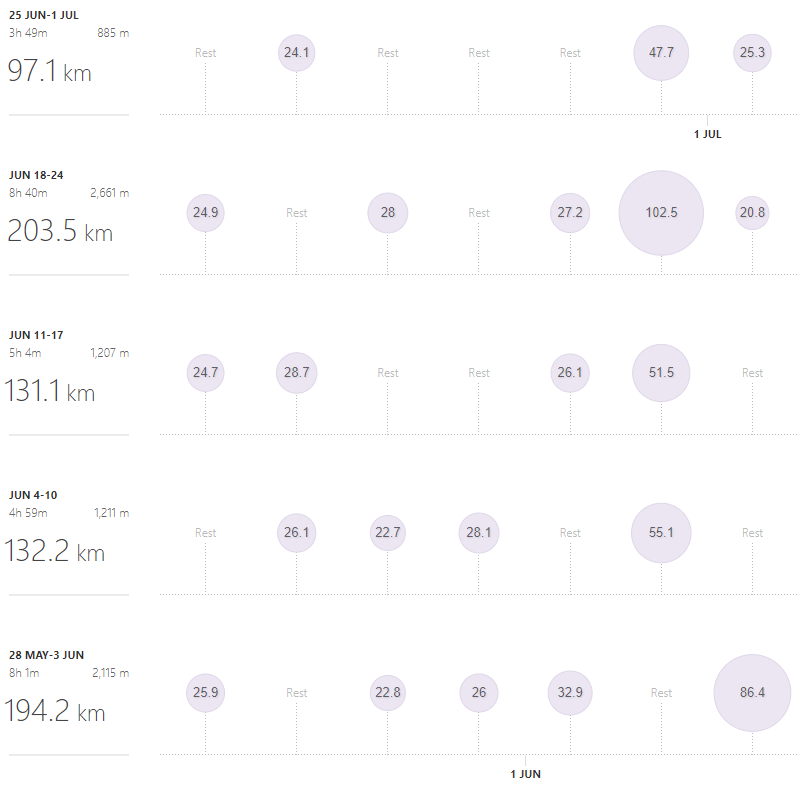 Strava training log June 2018