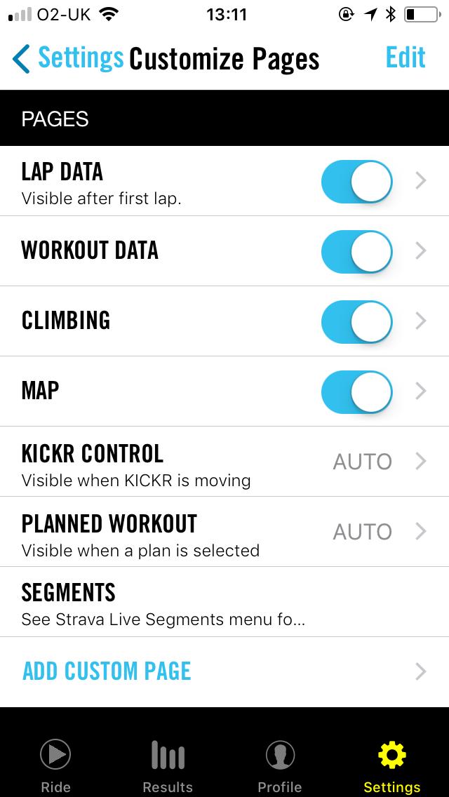 Wahoo ELEMNT app custom pages