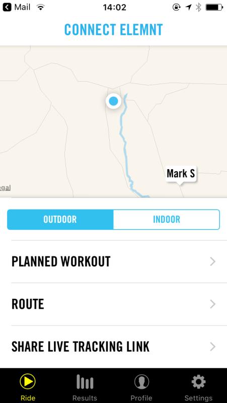 Wahoo ELEMNT app live tracking