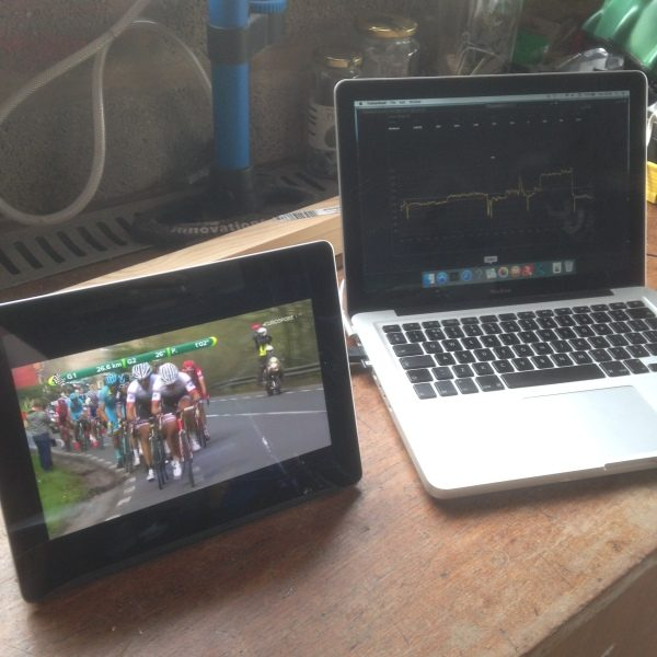 Watching Tour of Flanders whilst using trainerroad