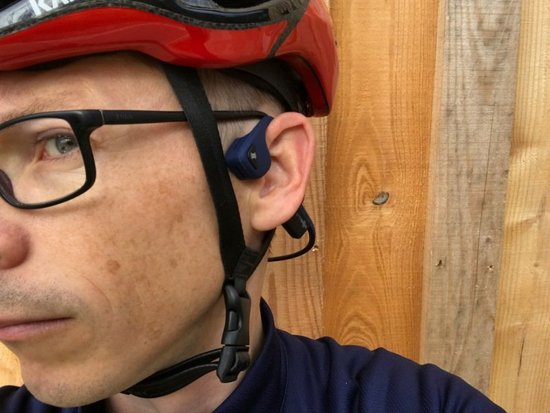 Wearing Aftershokz Trekz Air with helment