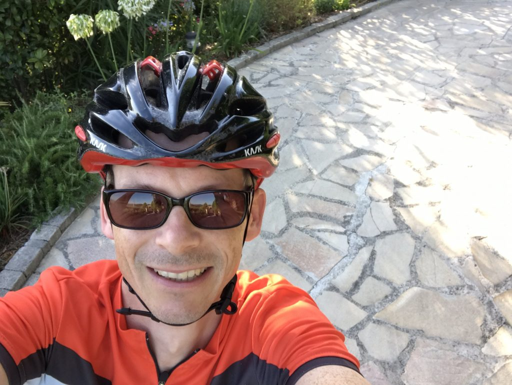 Selfie wearing a bike helmet in Mougins