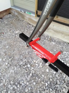 front forks attached to a workstand