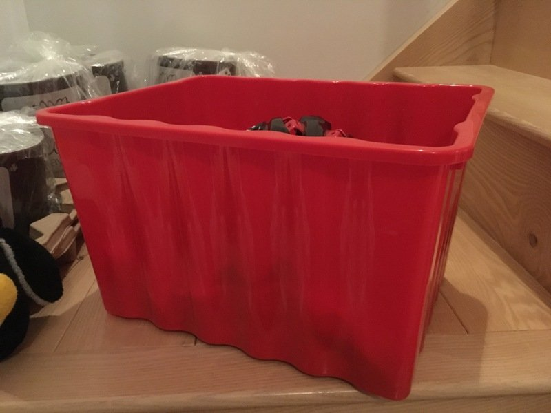 plastic box for keeping cycling stuff in